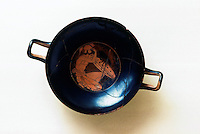 "Greek Art:  Red-figure Kylix of ""Type B"" around 506 B.C.  National Archaeological Museum, 1628.  Greek Ministry of Culture, Athens.  Reference only."