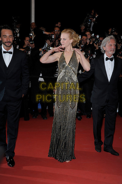 Rodrigo Santoro, Nicole Kidman.'Hemingway & Gellhorn' screening at the 65th  Cannes Film Festival, France,.24th May 2012..full length gold beaded halternck long maxi dress  black hands arms up touching hair armpit .CAP/PL.©Phil Loftus/Capital Pictures.