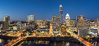 This is of our latest Austin skyline panorama taken from over the top of the Hyatt Regency Hotel in order to get the Congress Bridge and the First Street bridge over the city at night.  The cityscape along Lady Bird Lake has been changing on a yearly basis with all the latest high rise buildings.  So for now it is the latest and greatest of 2016 so far.  We were able to capture this high quality aerial image because we use a full frame camera on our drone for out still photographs so we can get the best image which can be printed easlity as a 20 x 60 or larger size without loss of resolution.​