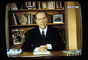 Silvio Berlusconi, President of Forza Italia polical party, speaks to electorate a message for the next polical election on 27, 28 March, 1994.
