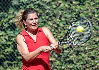 Hilversum, The Netherlands, September 2, 2018,  Tulip Tennis Center, NKS, National Championships Seniors, Women's 50+ final: Sandy Wenderhold (NED) <br /> Photo: Tennisimages/Henk Koster