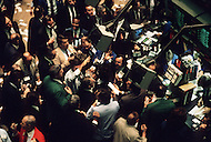 Interior of the New York Stock Exchange on Wall Street the day after Black Monday,when stock markets around the world crashed.