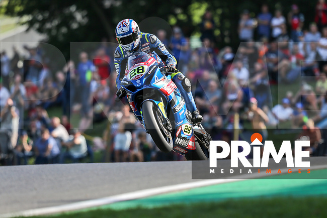 Bradley RAY (28) of the BSB Buildbase Suzuki race team on his way to securing Pole Position during DataTag Extreme Qualifying at the Bennetts British Superbike Championship Round BSB Round 8 (Saturday) at Cadwell Park Circuit, Louth, England on 18 August 2018. Photo by David Horn.