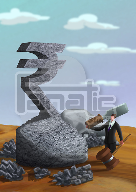 Businessman with a hammer and chisel