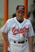 August 19, 2005:  Coach Len Johnston of the Bluefield Orioles during a game at Bowen Field in Bluefield, WV.  Bluefield is the Appalachian League Class-A affiliate of the Baltimore Orioles.  Photo by:  Mike Janes/Four Seam Images