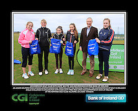 Woodbrook Golf Club Girls With Kate Wright CGI and Brendan Byrne Bank of Ireland.<br /> Junior golfers from across Leinster practicing their skills at the regional finals of the Dubai Duty Free Irish Open Skills Challenge supported by Bank of Ireland at the Heritage Golf Club, Killinard, Co Laois. 2/04/2016.<br /> Picture: Golffile | Fran Caffrey<br /> <br /> <br /> All photo usage must carry mandatory copyright credit (© Golffile | Fran Caffrey)