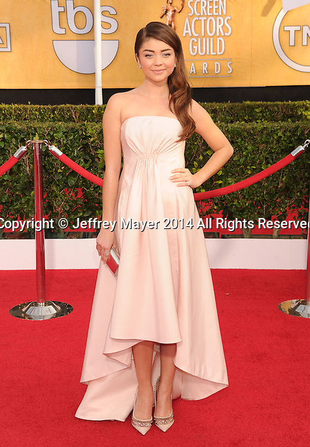 LOS ANGELES, CA- JANUARY 18: Actress Sarah Hyland arrives at the 20th Annual Screen Actors Guild Awards at The Shrine Auditorium on January 18, 2014 in Los Angeles, California.