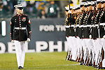 The U.S. Marine Corp Silent Drill Platoon performs during halftime of the NFL game between the Dallas Cowboys and the Philadelphia Eagles on November 8th 2009. The Cowboys won 20-16 at Lincoln Financial Field in Philadelphia, Pennsylvania. (Photo By Brian Garfinkel)