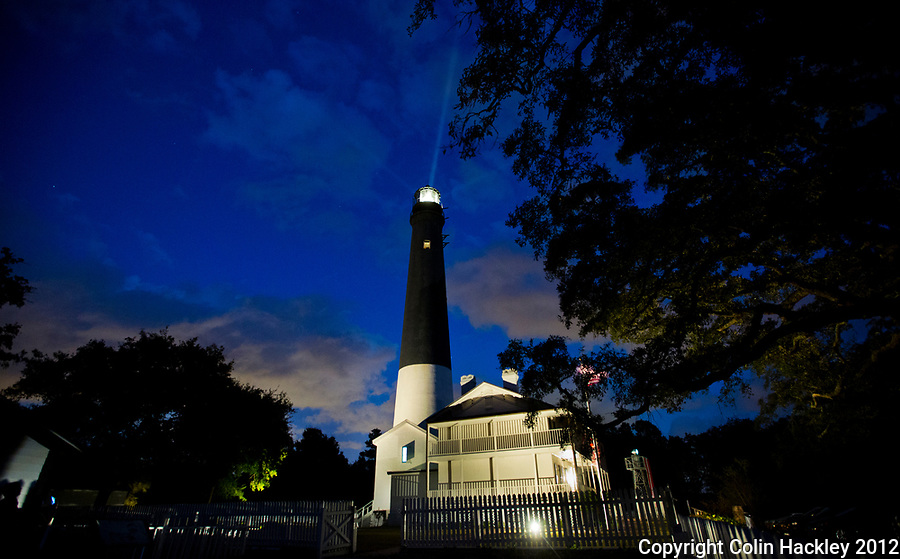 The beacon of the Pensacola Lighthouse can be seen from 27 miles out to sea. It is the tallest light on the U.S. Gulf coast.<br /> <br /> COLIN HACKLEY PHOTO