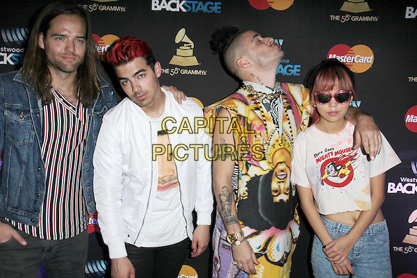LOS ANGELES, CA - FEBRUARY 12: DNCE at the 2016 Grammys Radio Row Day 1 presented by Westwood One, Staples Center, Los Angeles, California on February 12, 2016.   <br /> CAP/MPI/DE<br /> &copy;DE//MPI/Capital Pictures