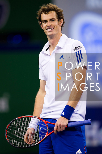 SHANGHAI, CHINA - OCTOBER 14:  Andy Murray of Great Britain smiles during his match against Jeremy Chardy of France during day four of the 2010 Shanghai Rolex Masters at the Shanghai Qi Zhong Tennis Center on October 14, 2010 in Shanghai, China.  (Photo by Victor Fraile/The Power of Sport Images) *** Local Caption *** Andy Murray