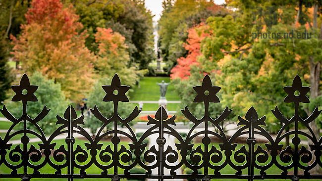 October 11, 2016; Decorative ironwork on the Main Building roof looking toward Main Quad (Photo by Matt Cashore/University of Notre Dame)