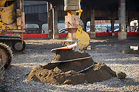 Augur breaks ground at the ceremony for the long anticipated and controversial Hudson Yards project on the West Side of Manhattan in New York on Tuesday, December 4, 2012. The Hudson Yards, built over the LIRR yards, represents the largest real estate development in New York since Rockefeller Center. When finished the 26 acre site will have over 13 million square feet of commercial, residential and retail space. (© Frances M. Roberts)