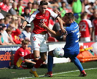 Fleetwood Town's Wes Burns and Wimbledon's Ben Purrington<br /> <br /> Photographer Stephen White/CameraSport<br /> <br /> The EFL Sky Bet League One - Fleetwood Town v AFC Wimbledon - Saturday 4th August 2018 - Highbury Stadium - Fleetwood<br /> <br /> World Copyright &copy; 2018 CameraSport. All rights reserved. 43 Linden Ave. Countesthorpe. Leicester. England. LE8 5PG - Tel: +44 (0) 116 277 4147 - admin@camerasport.com - www.camerasport.com