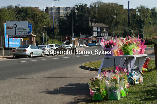 Ebbsfleet, Ebbsfleet Valley, Kent Uk. Mothers Day Flowers for sale at the side of the road