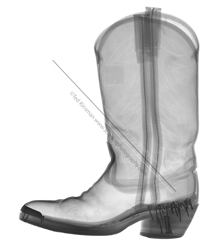 X-Ray of a cowboy boot.  This is an expensive hand-made leather boot.