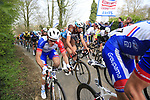 The 2nd group on the road including Arnaud Demare (FRA) Groupama-FDJ climb Mont Noir during the 2019 Gent-Wevelgem in Flanders Fields running 252km from Deinze to Wevelgem, Belgium. 31st March 2019.<br /> Picture: Eoin Clarke | Cyclefile<br /> <br /> All photos usage must carry mandatory copyright credit (© Cyclefile | Eoin Clarke)