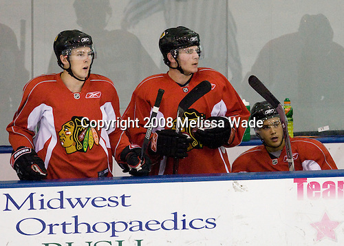 Mike Radja (Red 27), Ben Smith (Red 56), Dan Bertram (Red 14) - Prospects and free agents took part in the 2008 Chicago Blackhawks Prospects Camp at Edge Ice Arena in Bensenville, Illinois, on Friday, July 11, 2008.