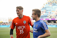San Jose, CA - Wednesday July 25, 2018: Bryan Meredith, Tommy Thompson during a Major League Soccer (MLS) match between the San Jose Earthquakes and the Seattle Sounders FC at Avaya Stadium.
