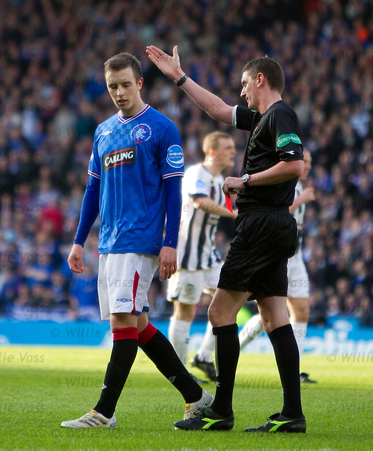 Rangers youngster Danny Wilson shown a straight red for a professional foul on the edge of the box