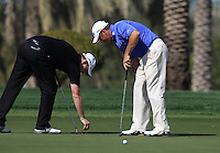 Stephen Gallacher (SCO) and Lee Westwood (ENG) on the 8th green during Sunday's Final Round of the 2012 Omega Dubai Desert Classic at Emirates Golf Club Majlis Course, Dubai, United Arab Emirates, 12th February 2012(Photo Eoin Clarke/www.golffile.ie)