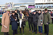 3rd February 2019, Leopardstown, Dublin, Ireland; Bellshill with Ruby Walsh, trainer Willie Mullins (right) and connection after winning the Irish Gold Cup. Leopardstown racecourse.