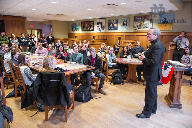 Feb. 2, 2016; Rev. John Jenkins, C.S.C. speaks on his role on the Presidential Debate Commission and the place for faith in political life, and civil discourse. The event was sponsored by ND Votes, a non-partisan campaign of the Center for Social Concerns and the Rooney Center for the Study of American Democracy to promote informed civic and political engagement among students. (Photo by Matt Cashore/University of Notre Dame)