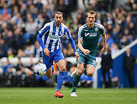 Wigan Athletic's Dan Burn (R) in action against Brighton &amp; Hove Albion 1st  goal scored Brighton &amp; Hove Albion's Glenn Murray (L)<br /> <br /> Brighton 2 - 1 Wigan<br /> <br /> Photographer David Horton/CameraSport<br /> <br /> The EFL Sky Bet Championship - Brighton &amp; Hove Albion v Wigan Athletic - Monday 17th April 2017 - American Express Community Stadium - Brighton<br /> <br /> World Copyright &copy; 2017 CameraSport. All rights reserved. 43 Linden Ave. Countesthorpe. Leicester. England. LE8 5PG - Tel: +44 (0) 116 277 4147 - admin@camerasport.com - www.camerasport.com