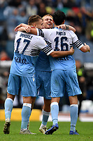 Marco Parolo of Lazio celebrates with Ciro Immobile and Gil Patric after scoring a goal  during the Serie A 2018/2019 football match between SS Lazio and Spal at stadio Olimpico, Roma, November 04, 2018 <br />  Foto Andrea Staccioli / Insidefoto