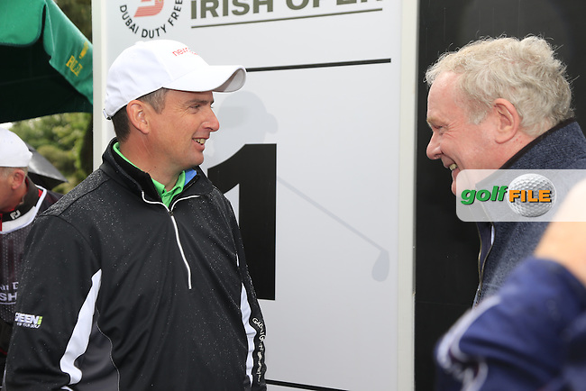 Martin McGuinness Deputy First Minister of Northern Ireland chats with Peter Lawrie (IRL) during the Pro-Am of the 2015 Dubai Duty Free Irish Open, Royal County Down Golf Club, Newcastle Co Down, Northern Ireland. 27/05/2015 <br /> Picture Eoin Clarke, www.golffile.ie