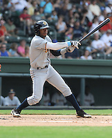 Infielder Angelo Gumbs (21) of the Charleston RiverDogs, a New York Yankees affiliate, in a game against the Greenville Drive on June 24, 2012, at Fluor Field at the West End in Greenville, South Carolina. Charleston won, 7-5. Gumbs is the Yankees' No. 14 prospect, according to Baseball America. (Tom Priddy/Four Seam Images)
