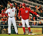 6 September 2011: Washington Nationals pitcher Stephen Strasburg (right) chats with third base coach Bo Porter during play against the Los Angeles Dodgers at Nationals Park in Washington, District of Columbia. Strasburg struck out 4, and gave up 2 hits in 5 scoreless innings during his first Major League start since having Tommy John surgery last season. The Dodgers defeated the Nationals 7-3 to take the second game of their 4-game series. Mandatory Credit: Ed Wolfstein Photo