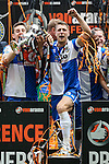 Lee Brown of Bristol Rovers (centre) celebrates winning the 2015 Vanarama Conference Promotion Final match between Grimsby Town and Bristol Rovers at Wembley Stadium, London<br /> Picture by David Horn/eXtreme aperture photography +44 7545 970036<br /> 17/05/2015