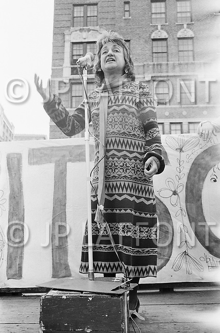 August 1971, Manhattan, New York City, New York State, USA --- Betty Friedan Speaking at Political Rally in New York --- Image by © JP Laffont/Sygma/CORBIS
