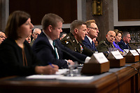 Director of Defense Capabilities and Management at the Government Accountability Office Elizabeth Field, Secretary of the Army Ryan McCarthy, Acting Secretary of the Navy Thomas Modly, Secretary of the Air Force Barbara Barrett, Chief of Staff of the U.S. Army General James McConville, Chief of Naval Operations Admiral Michael Gilday, Commandant of the Marine Corps General David Berger, and Chief of Staff of the U.S. Air Force General David Goldfein testify before the United States Senate Committee on Armed Services at the U.S. Capitol in Washington D.C., U.S., on Tuesday, December 3, 2019.  The panel discussed reports of substandard housing conditions for U.S. service members. <br /> <br /> Credit: Stefani Reynolds / CNP /MediaPunch