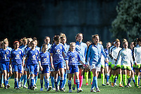 Seattle, WA - Sunday April 17, 2016: Sky Blue FC defender Christie Rampone (3) leads her team onto the field prior to the start of the match. Sky Blue FC defeated the Seattle Reign FC 2-1during a National Women's Soccer League (NWSL) match at Memorial Stadium.