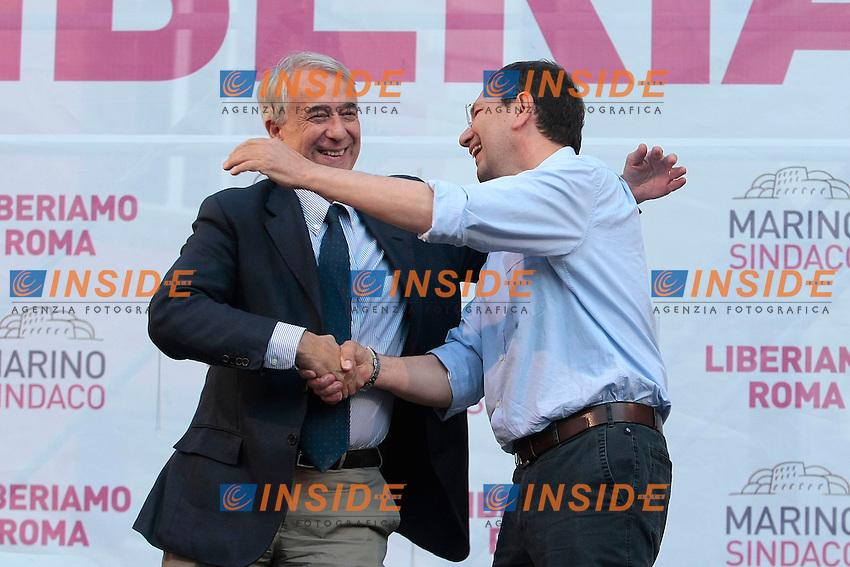 Giuliano Pisapia e Ignazio Marino si abbracciano<br /> Roma 07/06/2013 Comizio conclusivo del candidato sindaco di Roma per il Partito Democratico in vista delle elezioni comunali.<br /> Photo Samantha Zucchi Insidefoto