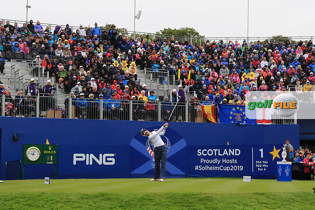 Annie Park of Team USA on the 1st tee during Day 2 Fourball at the Solheim Cup 2019, Gleneagles Golf CLub, Auchterarder, Perthshire, Scotland. 14/09/2019.<br /> Picture Thos Caffrey / Golffile.ie<br /> <br /> All photo usage must carry mandatory copyright credit (© Golffile | Thos Caffrey)