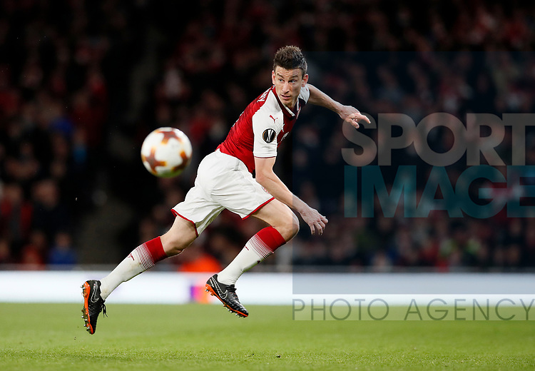 Arsenal's Laurent Koscielny in action during the Europa League Semi Final 1st Leg, match at the Emirates Stadium, London. Picture date: 26th April 2018. Picture credit should read: David Klein/Sportimage