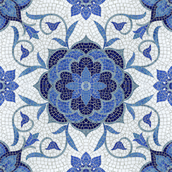 Aurelia, a handmade mosaic shown in Lapis Lazuli, Iolite, Mica, Absolute White and Blue Spinel jewel glass, is part of the Delft Collection by Sara Baldwin for New Ravenna.<br /> <br /> For pricing samples and design help, click here: http://www.newravenna.com/showrooms/