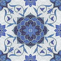 Aurelia, a handmade mosaic shown in Lapis Lazuli, Iolite, Mica, Absolute White and Blue Spinel jewel glass, is part of the Delft Collection by Sara Baldwin for New Ravenna.<br />