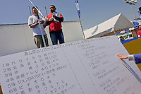 A board showing prizesd in The Ashigara River festival, Kintaro duck-race in Matsuda, Kanagawa, Japan April 25th 2010