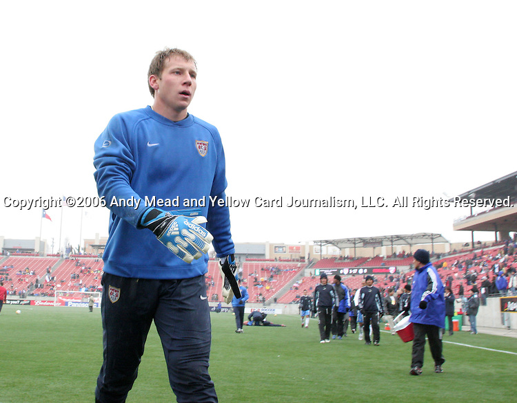 Brad Guzan, of the United States, on Sunday, February 19th, 2005 at Pizza Hut Park in Frisco, Texas. The United States Men's National Team defeated Guatemala 4-0 in a men's international friendly.