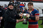 Neil Simons from Counties Power presents Ardmore Marist skipper Tekori Luteru with the McNamara Cup.CMRFU Counties Power 2008 Club rugby McNamara Cup Premier final between Ardmore Marist & Patumahoe played at Growers Stadium, Pukekohe on July 26th.  Ardmore Marist won 9 - 8.
