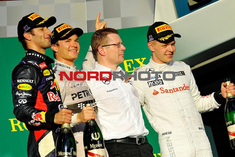 Podium - Daniel Ricciardo (AUS)  Red Bull Racing - Nico Rosberg (GER), Mercedes GP - Kevin Magnussen (DAN)  McLaren F1 Team<br />  Foto &copy; nph / Mathis