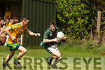 Gneeveguilla's Philip Cremin shadows Darragh Mackessey of Finuge in their encounter in the 3rd round of the Junior Premier Championship in Finuge on Sunday.