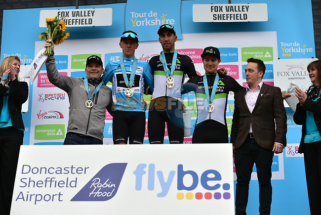 Team Dimension Data best team at the end of Stage 3 of the Tour de Yorkshire 2017 running 194.5km from Bradford/Fox Valley to Sheffield, England. 30th April 2017. <br /> Picture: ASO/P.Ballet | Cyclefile<br /> <br /> <br /> All photos usage must carry mandatory copyright credit (&copy; Cyclefile | ASO/P.Ballet)