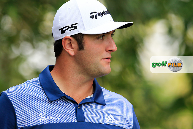 Jon Rahm (ESP) on the 9th tee during round 1 of the 2017 WGC HSBC Champions, Sheshan International Golf Club, Shanghai, China PR. 26/10/2017<br /> Picture: Golffile | Fran Caffrey<br /> <br /> <br /> All photo usage must carry mandatory copyright credit (&copy; Golffile | Fran Caffrey)
