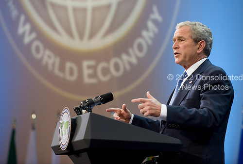 Washington, DC - November 15, 2008 -- United States President George W. Bush reads a statement to the press after the Summit on Financial Markets and the World Economy at the National Building Museum in Washington, D.C., USA, 15 November 2008. Bush said the summit was a success. .Credit: Matthew Cavanaugh - Pool via CNP
