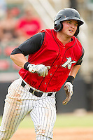 Michael Marjama (23) of the Kannapolis Intimidators hustles down the first base line against the Rome Braves at CMC-Northeast Stadium on August 5, 2012 in Kannapolis, North Carolina.  The Intimidators defeated the Braves 9-1.  (Brian Westerholt/Four Seam Images)